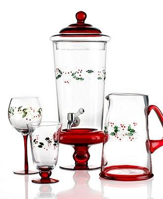 Christmas Pfaltzgraff Glassware, Winterberry Collection