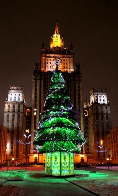 christmas-tree-in-moscow-1992Christmas Tree in. Moscow, Russia. This tree doesn't just represent Christmas. It represents Christmas coming again because Christmas was cancelled after the 1917 Revolution. It came back 75 years later in 1992