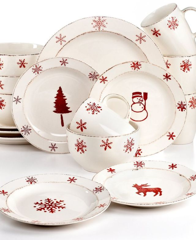 EuroCeramica Birchwood Holiday 16-Pc. Set, Service for 4 - Christmas Dining - Holiday Lane - Macy's