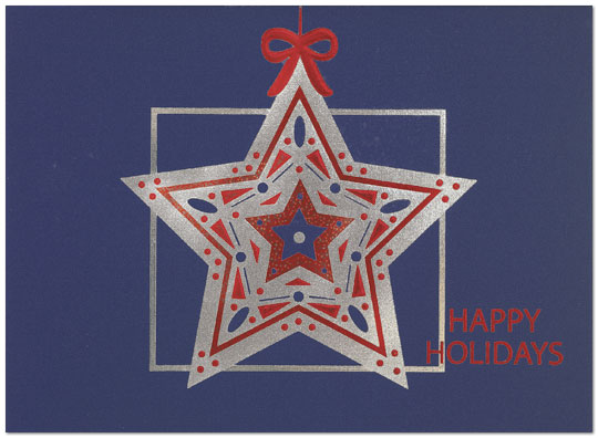 Exquisite Star – This holiday card features a patriotic star ornament on duplex paper that is navy blue on one side only