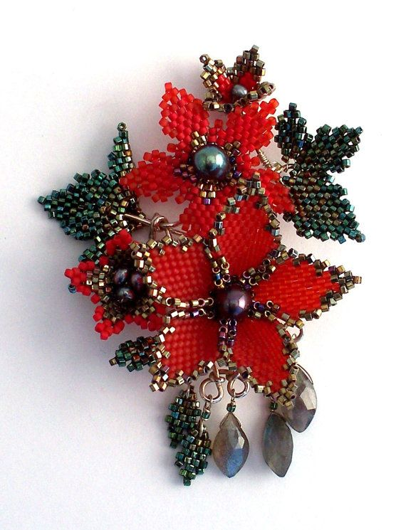 Peyote Stitched Poison Flower Brooch-Pendant with Peacock Pearls and Labradorite from Etsy