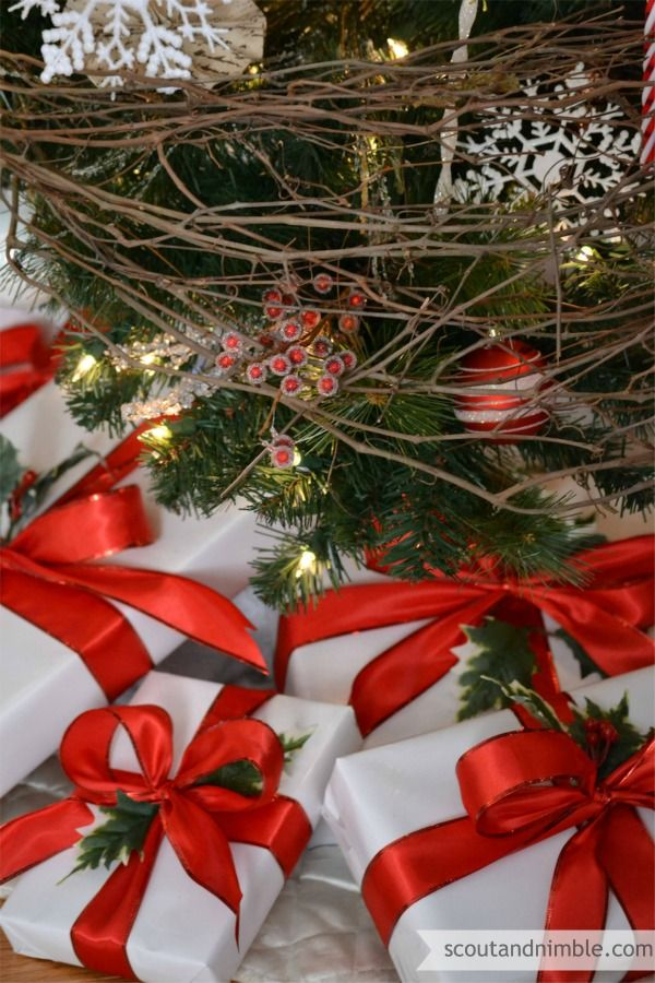 Rustic setting and classic red and white gift wrapping