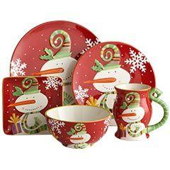 Salad plate $7.00, Dinner Plate $8.00, Snowman Mug $7.00