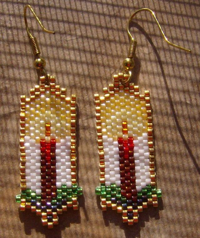 Seed Bead candle earrings for Christmas