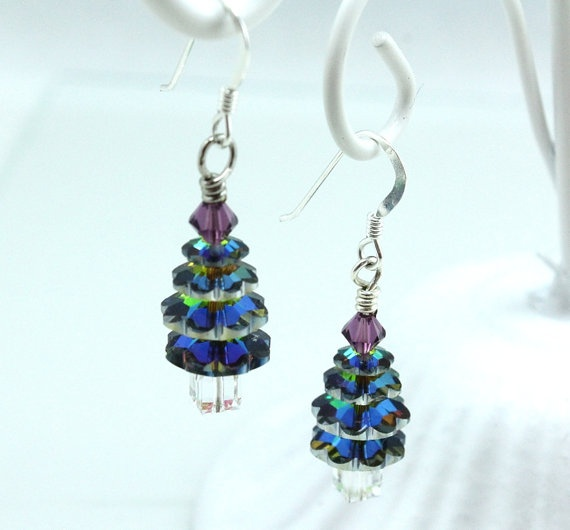 Swarovski Vitrail Christmas Tree Earrings by NancysCrystalFantasi on Etsy, $25.00