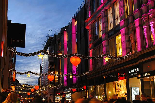 Christmas lights in Copenhagen, Denmark