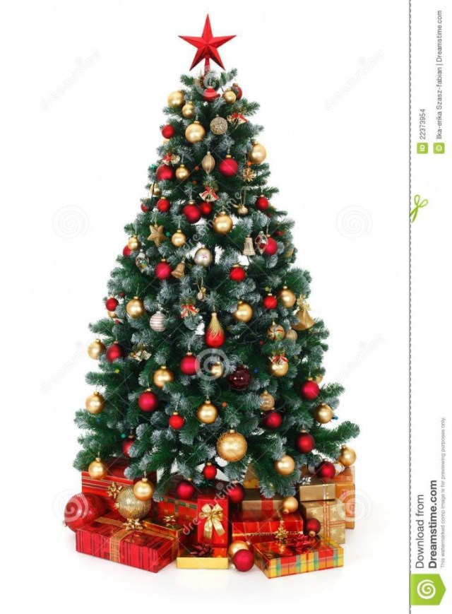 Decorated Christmas tree with presents