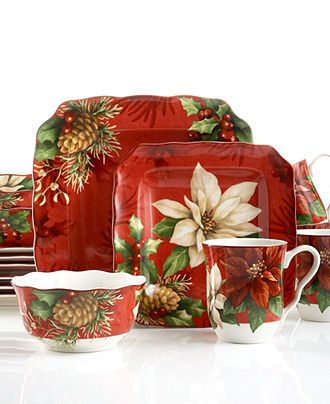 222 Fifth Dinnerware, Poinsettia Holly 16 Piece Set - Casual Dinnerware - Dining & Entertaining - Macy's