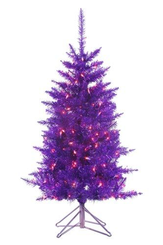 4 Foot Pre-lit Tiffany Purple Christmas Tree with Purple Lights