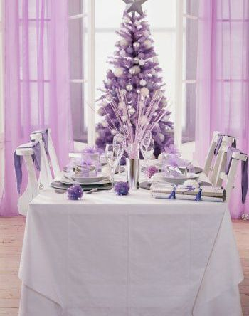 Gorgeous purple and white Christmas tree and table setting