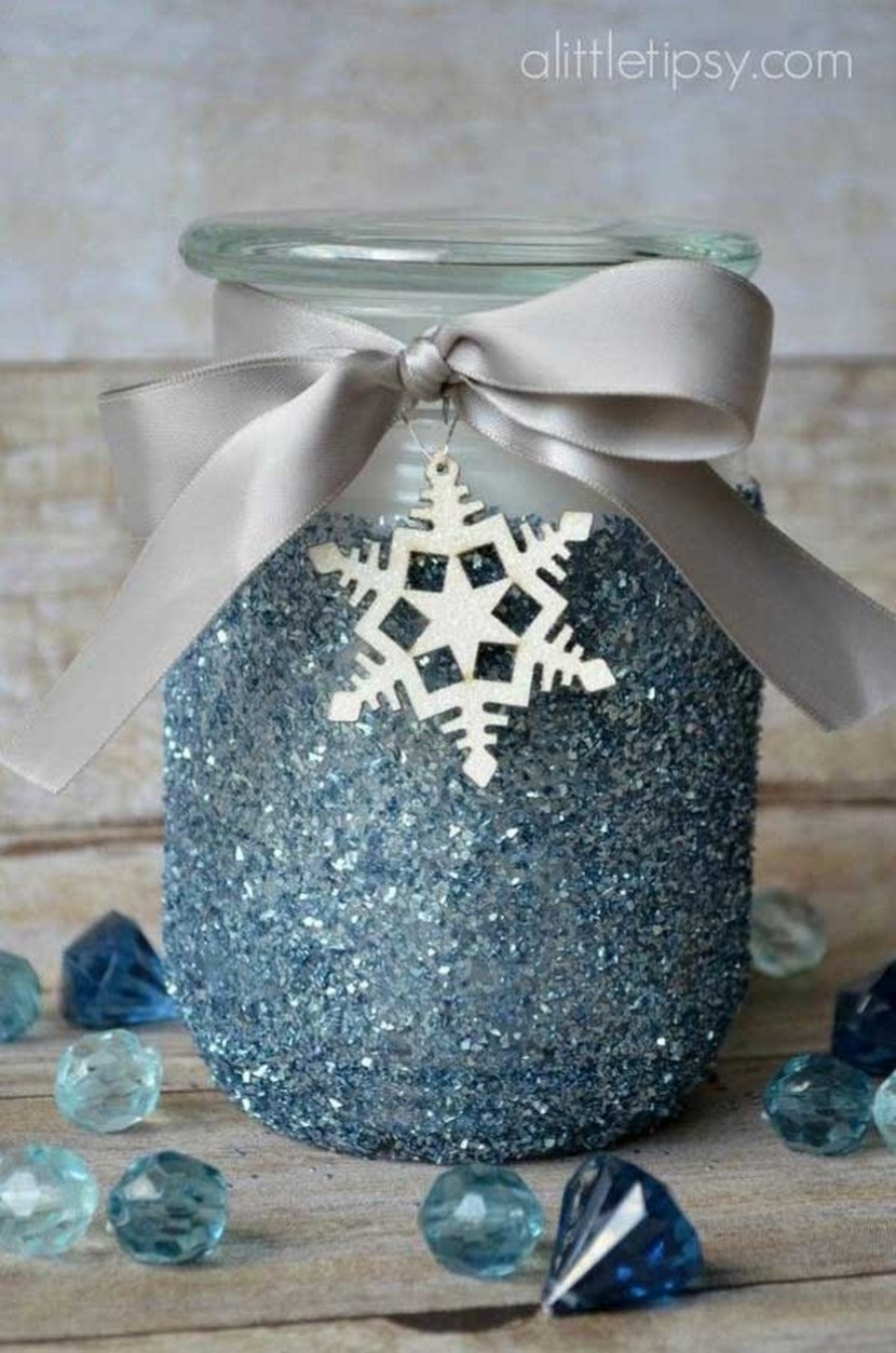 A winter spin on a classic glitter candle