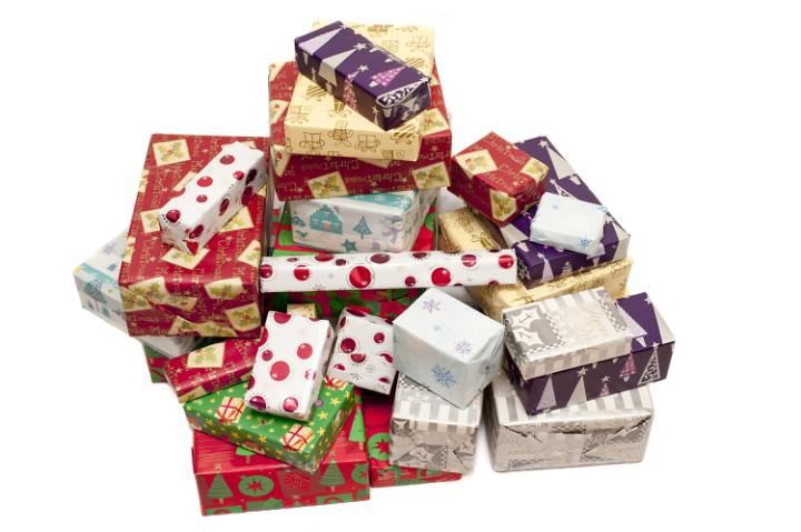 Photo Of Colorful Pile Of Christmas Gifts In Seasonal Wrap