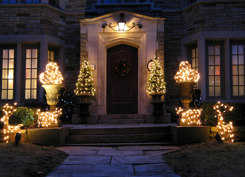 Potted Christmas Trees Front Door Entrance