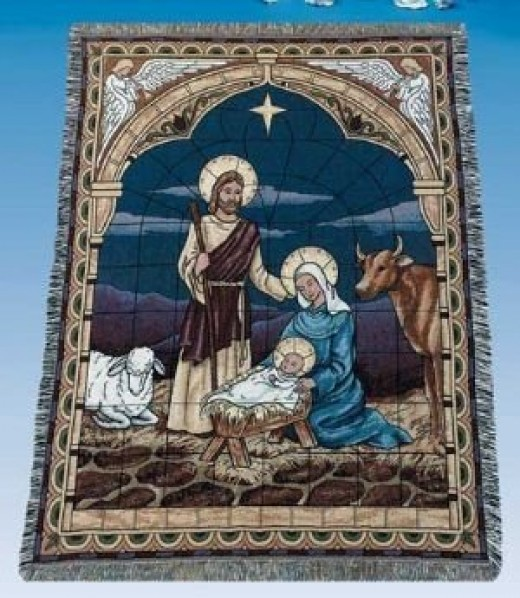 Nativity Christmas throw