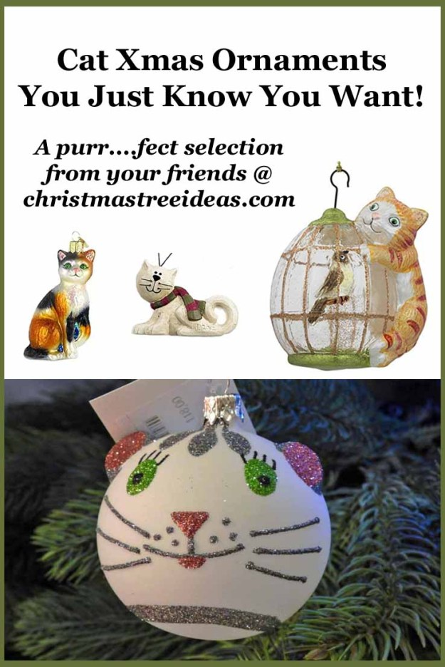 selection of cat christmas ornaments