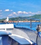 Auf dem Schiff an der Küste vor Piran