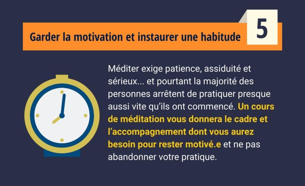 Cours de méditation - Garder la motivation et instaurer une habitude