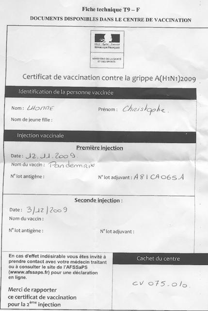 H1N1 certificat