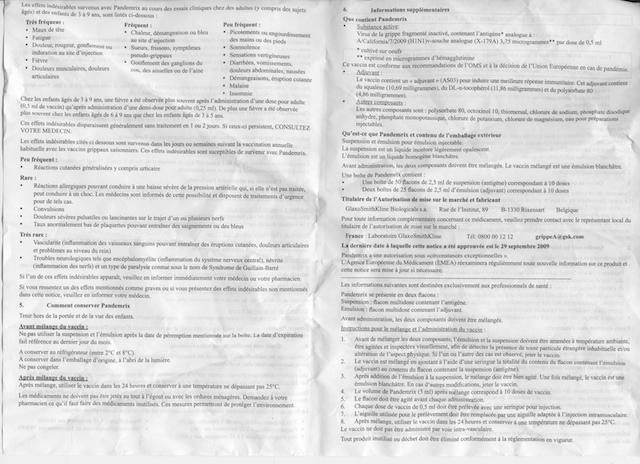 notice H1N1 verso