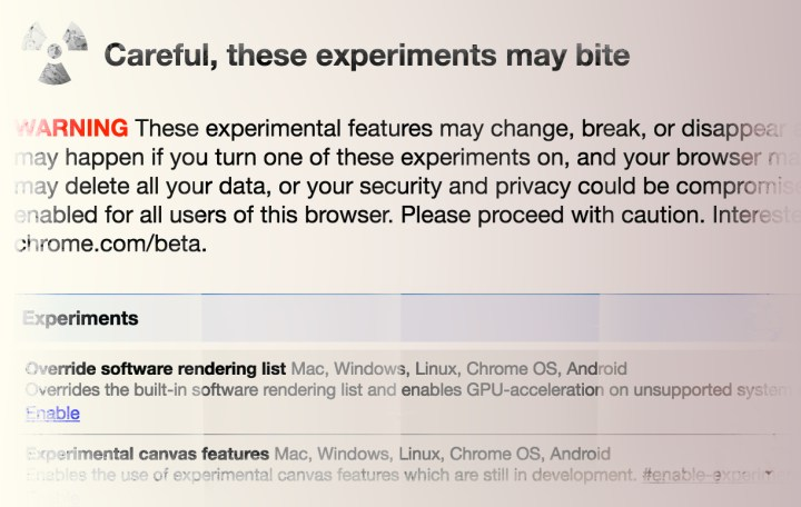 Setting Chrome Flags for Experimental Web Browser Layout
