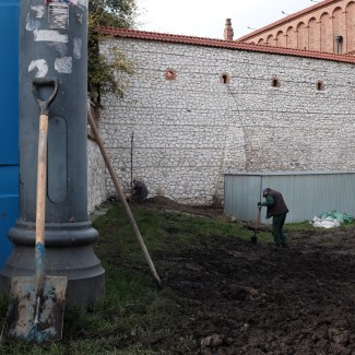 Landscapers working in Kazimierz