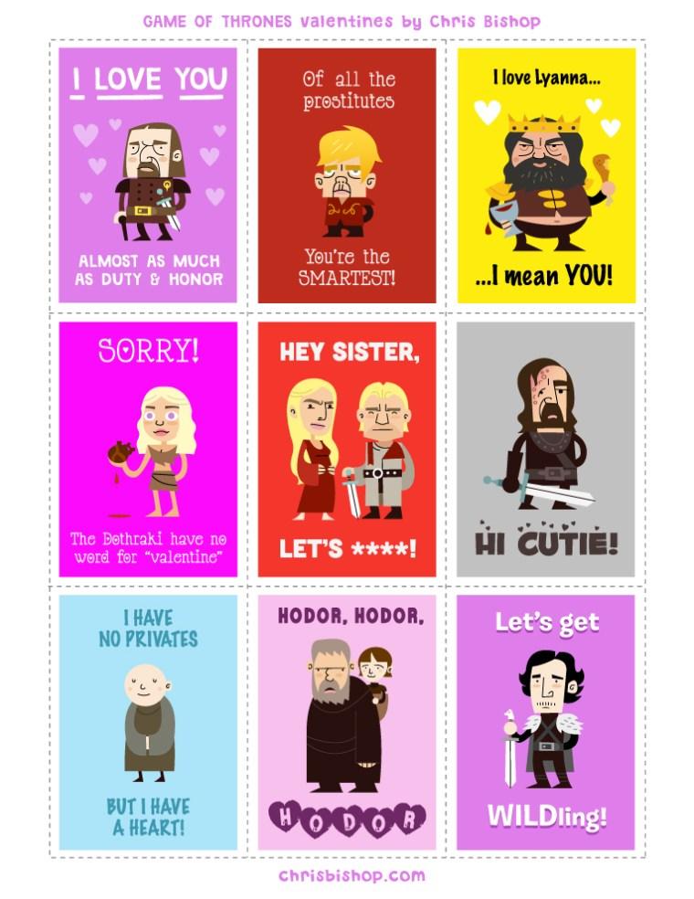 Game of Thrones valentines by Chris Bishop