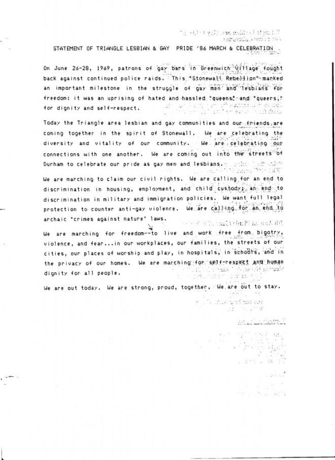 Statement of Lesbian and Gay Pride, Durham, NC (1986)