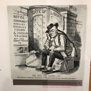 Political cartoon of Chinese Exclusion Act at Museum of Food and Drink