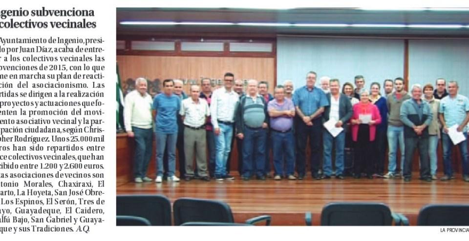 #Ingenio subvenciona a colectivos vecinales.