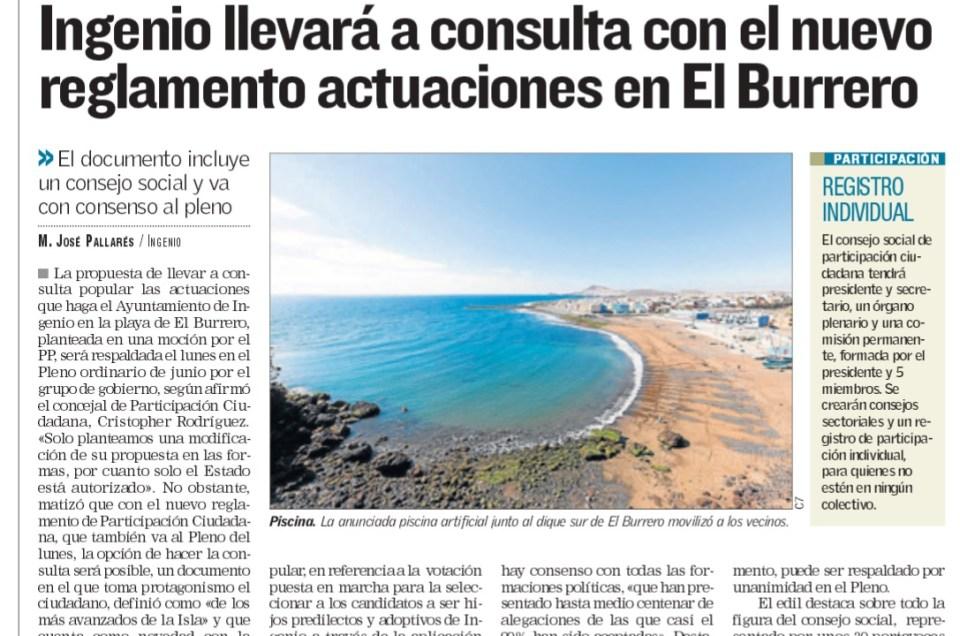 Ingenio llevará a consultas, con el nuevo reglamento, las actuaciones en El Burrero.
