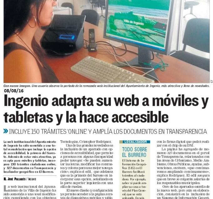Ingenio adapta su web y la hace accesible.