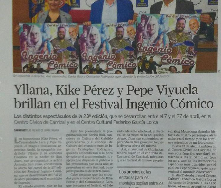 Presentación XXIII Festival Teatro «Ingenio Cómico».
