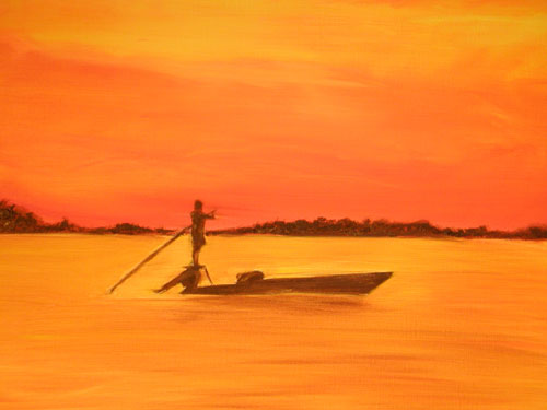 flats, fishing, boat, pole, no wake, redfish, tarpon, trout, sunset, sunrise, painting, art, indian, river, mosquito lagoon