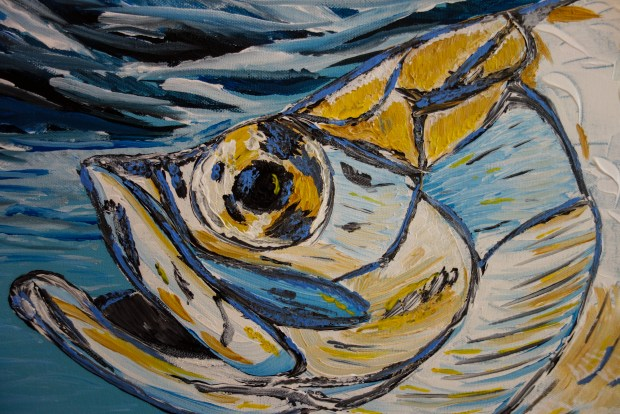 Caribbean, tarpon, fishing, art, painting, abstract