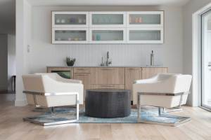 Mid century modern bar design with modern german cabinetry and white wall tile in Bow Mar, CO remodel.