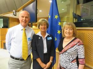 l to r Kevin, Karen, Glenis Willmott MEP