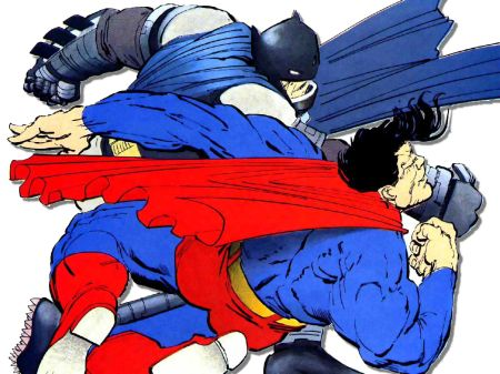 Batman beating the tar out of Supes