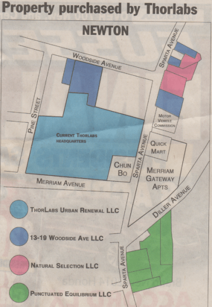 Thor Labs, a fiber optics manufacturer, is buying up more property near its Sparta Avenue anchor, according to this infographic from the New Jersey Herald as of March 2014.