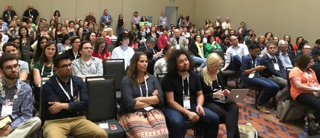 This was the lovely crowd at ONA, the final session of the conference.