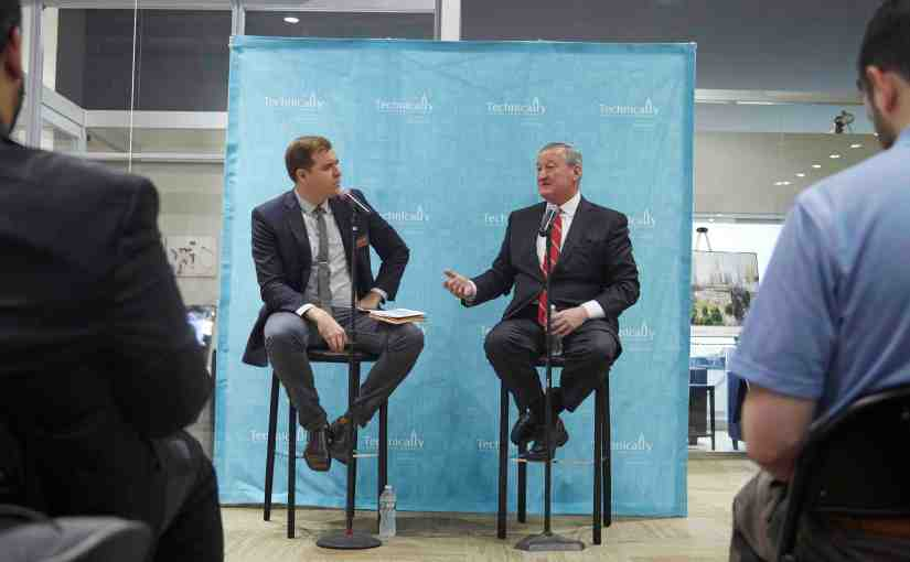 Philadelphia Mayor Jim Kenney, at right, is interviewed by Christopher Wink during Philly Tech Week on Monday, May 1, 2017
