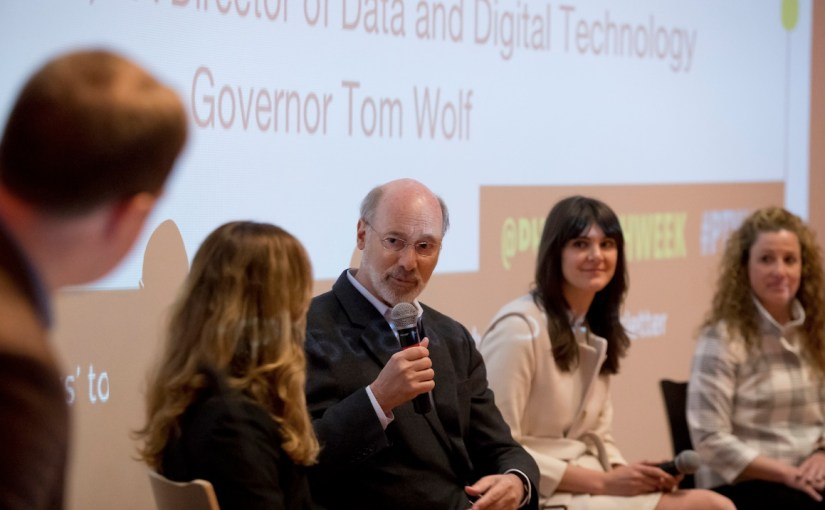 Gov. Tom Wolf and members of his administration respond to a question of mine during Philly Tech Week.