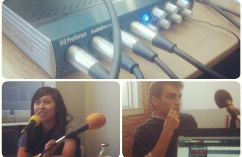 The first Technical.ly podcast recording, with a shot of Juliana Reyes and Andrew Zaleski.