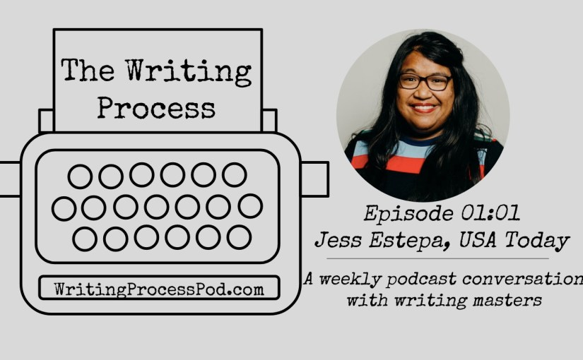 Headshot of Jess Estepa with The Writing Process logo