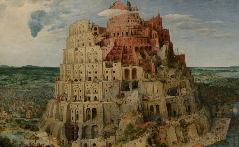 A portion of the dramatic painting of the biblical Tower of Babel
