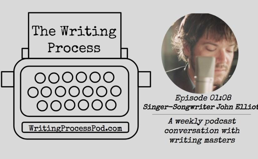 Headshot of John Elliott next to The Writing Process Podcast typewriter logo