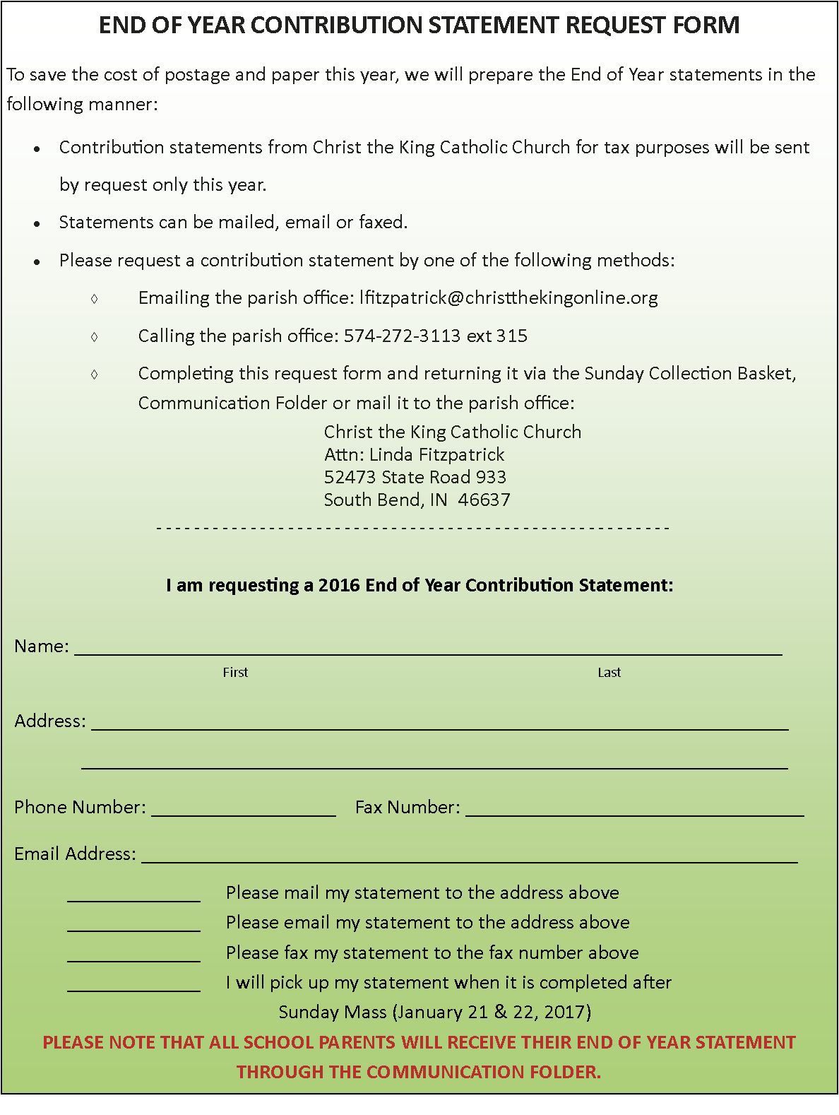 Christ The King Catholic Church End Of Year Statement Request Form