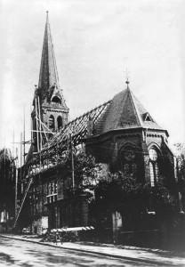 Die Lutherkirche während der Renovierung in den 1950-er Jahren