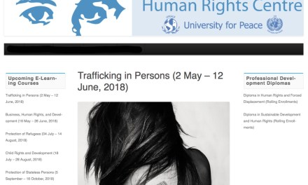Human Rights Centre – United Nations mandated University for Peace (Cota Rica): Training on Trafficking in Persons (2 May – 12 June, 2018)