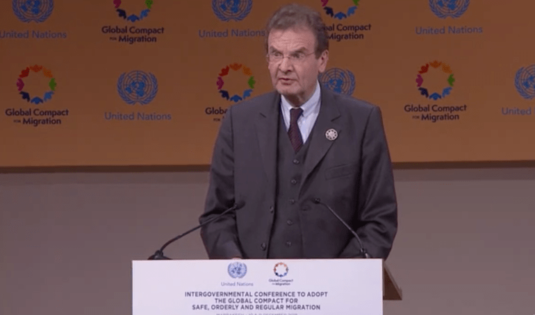 """""""Respect for the dignity of migrants and religious freedom must be a priority for all actors"""" – OM Grand Chancellor Albrecht von Boeselager's Intervention at Marrakech Summit on Global Compact for Migration / 11 Dec. 2018"""