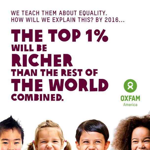 OXFAM – INEGALITY / Richest 1 percent bagged 82 percent of wealth created last year – poorest half of humanity got nothing – Les 1 % les plus riches empochent 82 % des richesses  – El 1% más rico de la población mundial acaparó el 82% de la riqueza